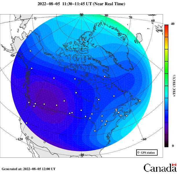 Map of Total Electron Content over Canada. Description of graphic follows.