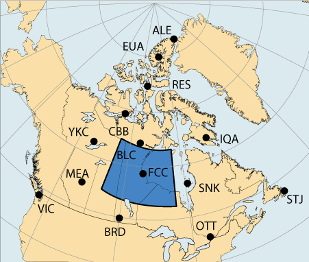 Map of Canada with a large area highlighted in the vicinity of Churchill, Manitoba which is associated with the Central Auroral region